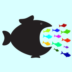 37492118 - big black fish swallowing plenty of colorful fish of different sizes and colors. business or political concept of monopolistic company or union absorbed small companies. career concept of careerist who does not consider interests of his colleagues